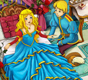 Cartoon scene - prince and princess Stock Image