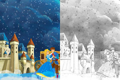 Cartoon scene with prince and princess  Royalty Free Stock Images