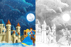 Cartoon scene with prince and princess  Royalty Free Stock Photo