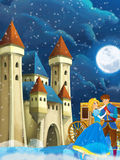 Cartoon scene with prince and princess - image for some fairy tale - beautiful castle and carriage in the background Royalty Free Stock Photography