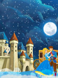 Cartoon scene with prince and princess - image for some fairy tale - beautiful castle and carriage in the background Royalty Free Stock Photo