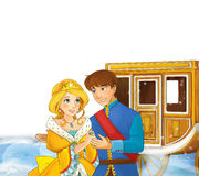 Cartoon scene with prince and princess near the beautiful chariot Royalty Free Stock Photography