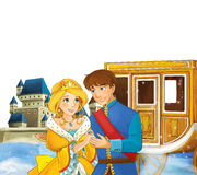 Cartoon scene with prince and princess near the chariot and beautiful castle Stock Photos
