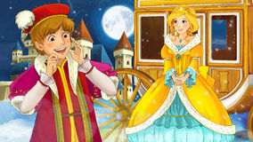 Cartoon scene with prince and princess near the chariot Royalty Free Stock Photography