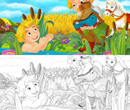 Cartoon scene with prince and servant by the water Stock Photos