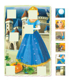 Cartoon scene with princess and castle - game for kids Royalty Free Stock Images