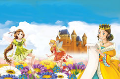 Cartoon scene with princess and fairies Stock Photography