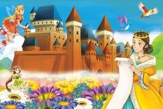 Cartoon scene with princess and fairies Stock Image