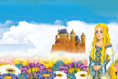 Cartoon scene with princess and fairies Royalty Free Stock Images