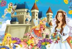 Cartoon scene with princess and fairies Stock Photo