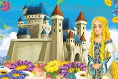 Cartoon scene with princess and fairies Royalty Free Stock Image