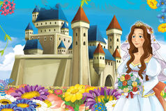 Cartoon scene with princess and fairies Royalty Free Stock Photography