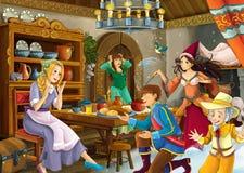 Cartoon scene with princess and fairies Stock Photos