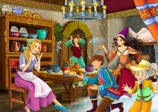Cartoon scene with princess and fairies Royalty Free Stock Photos