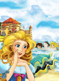 Cartoon scene with princess in front of big beautiful castle and mermaids in the sea Royalty Free Stock Images