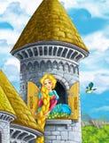 Cartoon scene of a princess - girl - sitting in the window - beautiful manga girl Royalty Free Stock Photos