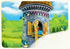 Cartoon scene of a princess - girl - sitting in the window / space for text Stock Images