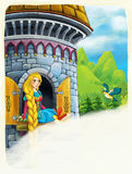 Cartoon scene of a princess - girl - sitting in the window / space for text Stock Photo