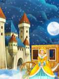 Cartoon scene with princess or queen - image for some fairy tale - beautiful castle and carriage in the background Royalty Free Stock Photography