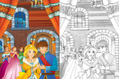 Cartoon scene with princess or queen - for some fairy tale - beautiful castle and carriage in the background beautiful manga girl Royalty Free Stock Images
