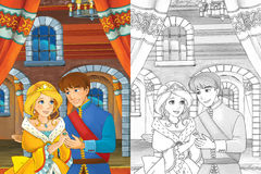 Cartoon scene with princess or queen - for some fairy tale - beautiful castle and carriage in the background beautiful manga girl Stock Photo