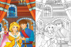 Cartoon scene with princess or queen - for some fairy tale - beautiful castle and carriage in the background beautiful manga girl Royalty Free Stock Image