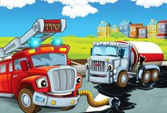 Cartoon scene with red firetruck gathering spilled oil from crashed cistern on the street - duty stock illustration