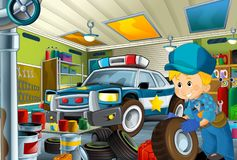 Cartoon scene with repairman in some garage - working repearing police car or clearing work place. Illustration for children royalty free illustration
