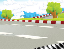Cartoon scene - road  background - race truck Royalty Free Stock Photo