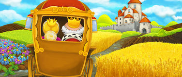 Cartoon scene of a royal carriage traveling to a beautiful castle Stock Image