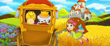 Cartoon scene of a royal carriage traveling to a beautiful castle Royalty Free Stock Images