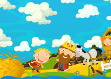 Cartoon scene with royal family on a trip - happy and funny illustration for children Stock Photos