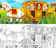 Cartoon scene with royal pair driving through the pastures - with coloring page Royalty Free Stock Images