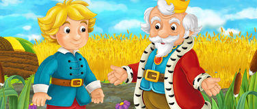 Cartoon scene with royal pair driving through the pastures. Cartoon scene for different fairy tales - illustration for children Royalty Free Stock Image