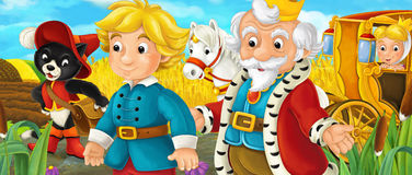 Cartoon scene with royal pair driving through the pastures. Cartoon scene for different fairy tales - illustration for children Royalty Free Stock Photos