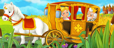 Cartoon scene with royal pair driving through the pastures. Cartoon scene for different fairy tales - illustration for children Royalty Free Stock Photo