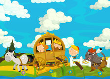 Cartoon scene with royal pair driving through the pastures Royalty Free Stock Photos