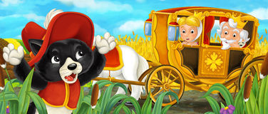 Cartoon scene with royal pair driving through the pastures Stock Image