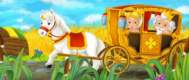 Cartoon scene with royal pair driving through the pastures Royalty Free Stock Photography