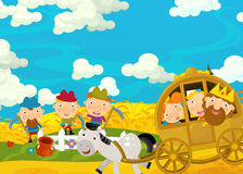 Cartoon scene with royal pair driving through the pastures greeting some farmers Royalty Free Stock Photography
