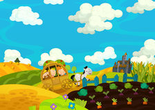 Cartoon scene with royal pair going to castle Royalty Free Stock Photography