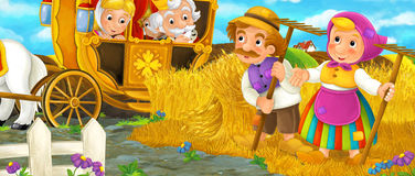 Cartoon scene with royal pair visiting farmers Stock Photo