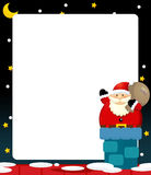 Cartoon scene of santa on the roof - bringing presents Royalty Free Stock Images