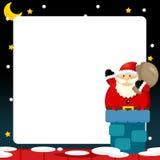 Cartoon scene of santa on the roof - bringing presents Stock Photography