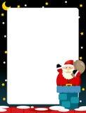 Cartoon scene of santa on the roof - bringing presents Stock Photos