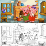 Cartoon scene of scared pigs inside the old house - with coloring page Stock Photography