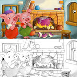Cartoon scene of scared pigs inside the old house - with coloring page Royalty Free Stock Images
