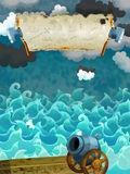 Cartoon scene of sea - stormy weather / with banner for different usage - pirate theme with axes Royalty Free Stock Images