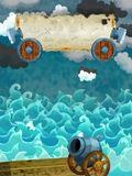 Cartoon scene of sea - stormy weather / with banner for different usage - pirate theme with axes Stock Photography