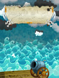 Cartoon scene of sea - stormy weather / with banner for different usage - pirate theme with swords Stock Photography